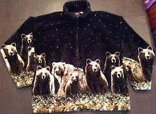 Mazmania Zip-up Soft Plush Black Fleece Brown Bears Pockets Sz Medium With Tag