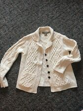 Inis Crafts Cable Knit Merino Wool Sweater Wood Button Cardigan Ireland Ivory M