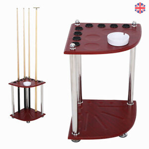 Wooden 8 Cues Billiard Snooker Pool Rack Stick & Ball Storage Stand with Ashtray