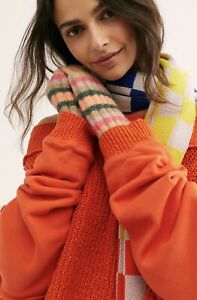 Free People Arm Warmer Fingerless Gloves Ribbed Striped Green Pink Tan NEW