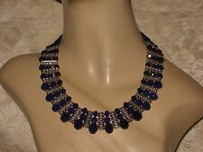 BLUE CRYSTAL CLEOPATRA STYLE  NECKLACE & EARRING SET, PROM, WEDDING