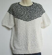 BLACK & White My Hand Knit Cotton Short sleeve Jumper Top New 14 #Sunday Market