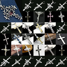NT Unisex Women Men Crystal Silver Stainless Steel Cross Pendant Necklace Chain