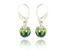 Shamballa Disco Balls Dark Green, Light Green & White Fusion Drop Earrings E428