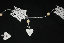 GARLAND,WOOD ,OWLS,HEARTS AND BEADS,2D HEARTS AND BEADS