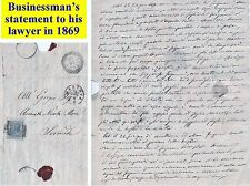 OLD LETTER WITH STAMP: 1869 Italian business man's statement to his lawyer (5)