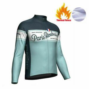 Winter Fleece Warm Retro Cycling Jersey Paris Roubaix Long Sleeve Bicycle Shirt