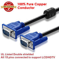 SVGA SUPER VGA Monitor 15PIN M/M Male To Male Cable CORD Adapter FOR PC TV HDTV