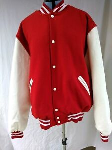 Lettermans Varsity Jacket Large NEW Red Wool White Leather Holloway USA 2XL
