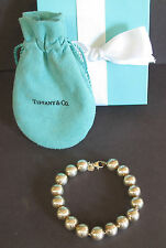 "Tiffany & Co Sterling Silver 10mm Ball Bead Bracelet 7 1/2"" Box Pouch"