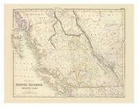 Old Vintage British Columbia and Vancouver Island map Fullarton ca. 1872