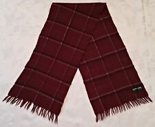 VINTAGE AUTHENTIC PIERRE CARDIN PLAIDS & CHECKS WOOL LONG MEN'S FRINGE SCARF