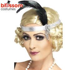 AC43 Silver Charleston Headband Gatsby Headpiece Flapper 1920s Costume Feather