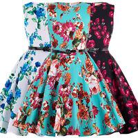 Girls Floral Dress Kids Summer Party Dresses Age 6~12 Years Swing Tea W/ Belt