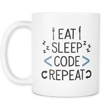 Eat Sleep Code Repeat Mug - Programmer Web Developer Software Coffee Mug or Cup