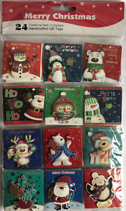 Merry Christmas 24 Handcrafted 3D Gift Tags Present Wrapping Gift Tags XMAS