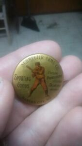 Vintage Schmelzer Arms Co. Sporting Goods Pinback Late 1800's-1900's Baseball