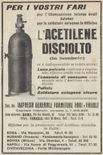 Z3432 Acetilene disciolto in bombole - Pubblicità d'epoca - 1922 old advertising