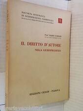 IL DIRITTO D AUTORE Nella giurisprudenza Mario Fabiani Edizioni Cedam 1963 libro