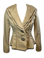 SONG & SUNG Design Todays Jacket Blazer Ruffled Wired Collar Tan Black SZ Small