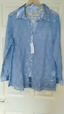 BNWT Womens Blue Classics Lace-Effect Blouse. Size 20. Fits 46 Inch Bust.