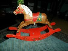 Vintage Carved Wood Music Box Rocking Horse Works W/ Missing Tail !