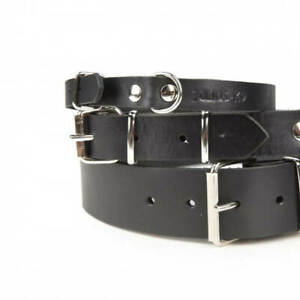 Julius-K9 Real Leather Puppy Dog Collar Strong Adjustable Durable Light Black