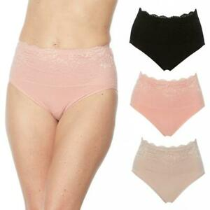 Rhonda Shear 3-pack Cotton Blend Ahh Panty w/ Lace Overlay Pink Combo S #679962
