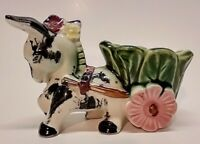 Vintage Japan Ceramic Planter -Donkey / Burro Pulling Cabbage Cart Flower Wheel