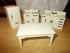 Ideal Vintage KITCHEN Dollhouse Furniture Renwal Plastic stove sink fridge table