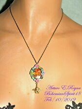 Arturo E.Reyna Cherub Cameo Petit Enamel Flowers Charm Pendant Necklace