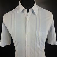 HUGO BOSS Mens Shirt SMALL Short Sleeve Blue Regular Fit Striped Cotton