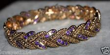 Ross Simons 18k Yellow gold/Sterling silver wide Purple Leaf tennis bracelet