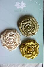 Flowers - 3 SATIN ROSETTES Mixed Colour Pack Fabric Each 45 mm across Green Tara