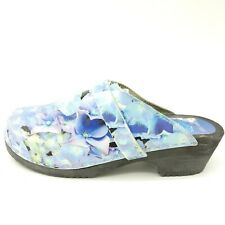 Cape Clogs Women's Size 39 Blue Floral Wooden Swedish Shoes