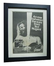 TED NUGENT+Double Live Gonzo+POSTER+AD+RARE ORIGINAL 1978+FRAMED+FAST WORLD SHIP