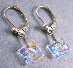 "DICHROIC GLASS Earrings Moonstone Blue Bubbles Eurowire Lever Dangle 1/4"" 8mm"