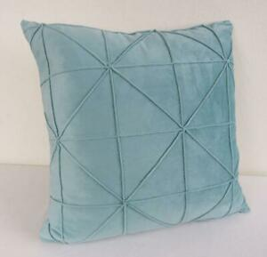 45CM ** Pale Teal Softest Velvet Pinch Pleated Home Decor Pillow Cushion Cover