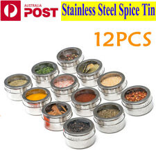 12Pcs Small Spice Jars Tin Stainless Steel Storage Container Jar Set Clear Lids