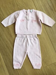 Zip Zap Spanish Baby Girl Pink Knitted Two Piece Outfit 🥰 3M 0-3 Months