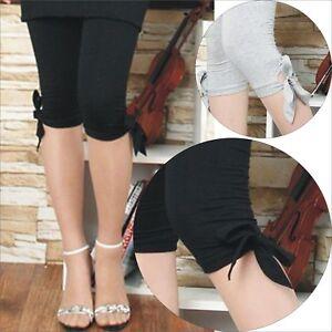 Women Tie side 3/4 Length Stretch LEGGINGS S-XXL BLACK GREY WHITE Au Size 8-20