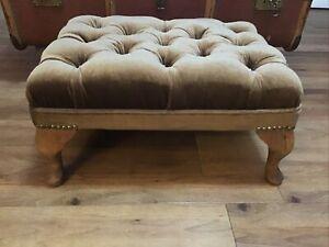 Vintage Brown Velvet Chesterfield Footstool