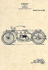Official 1919 Harley Davidson US Patent Art Print- Ziska Antique Motorcycle 328