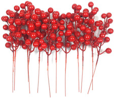 12 Pc Artificial Red Berry Stems For Christmas Tree Decorations 8 Inches Red