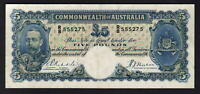 Australia R-44a. (1933) Five Pounds - Riddle/Sheehan.. George V Portrait.. aVF