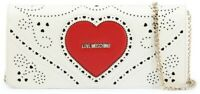 LOVE MOSCHINO Women's White Cross-body Bag Red Heart Chain Strap New Authentic