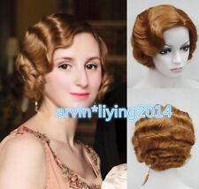 Finger Wave ladies wig Exquisite Short brown Curly Wavy Hair Full Wig / Wig cap