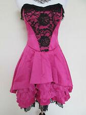 Betsey Johnson Pink Black Carlyle Lace Ruffle Pleat Skirt Evening Dress Sz 6