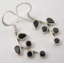 925 STERLING Silver Hot Selling BLACK ONYX PLANT LEAF STYLISH Earrings 1.5 Inch