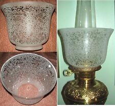 """Etched Glass Shade for old oil,kerosene,banquet lamp 4"""" Victorian Lace PT"""